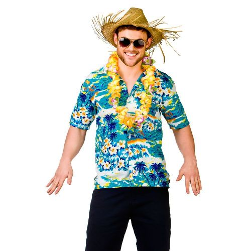 Mens Hawaii Shirt Turquoise Surf Costume for Hawaiian Fancy Dress Mans Male